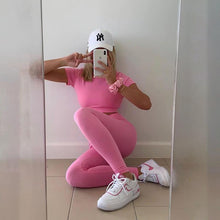 Load image into Gallery viewer, Pure Candy Color Midriff-baring Activewear Yoga Suit - Ahanova Sports