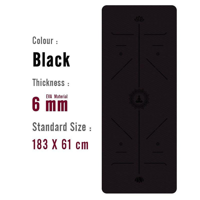 1830*610*6mm Yoga Mat with Position Line Non Slip - Ahanova Sports