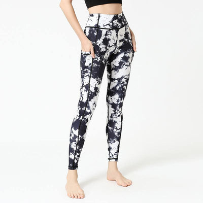 Peach Lift Printed High Waist Leggings With Pocket - Ahanova Sports