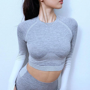 New Workout Sport Cropped Top Yoga Set - Ahanova Sports