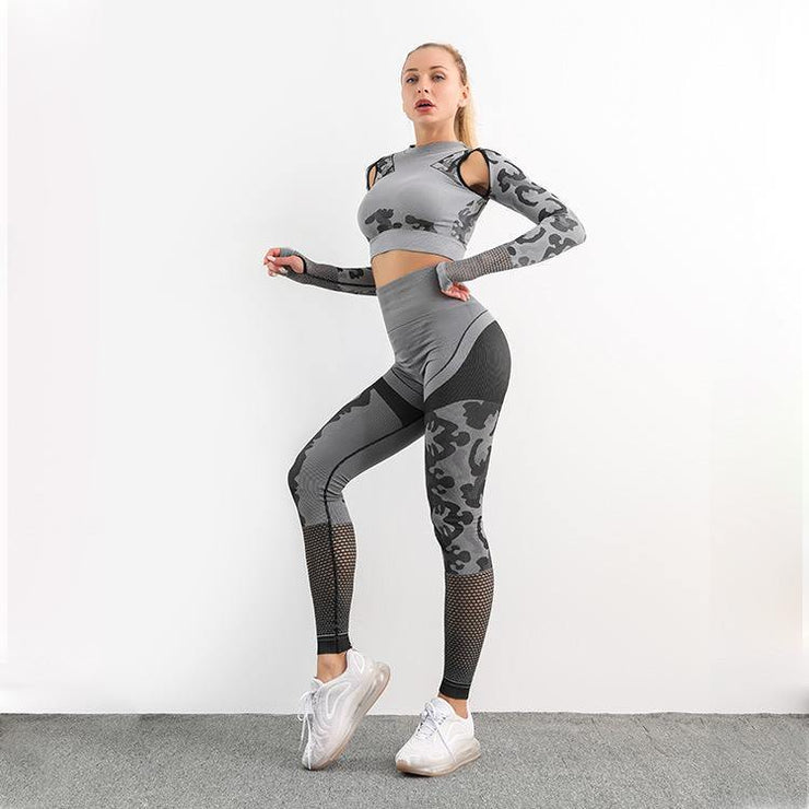 Seamless Hollow Design Two-piece Yoga Suit - Ahanova Sports