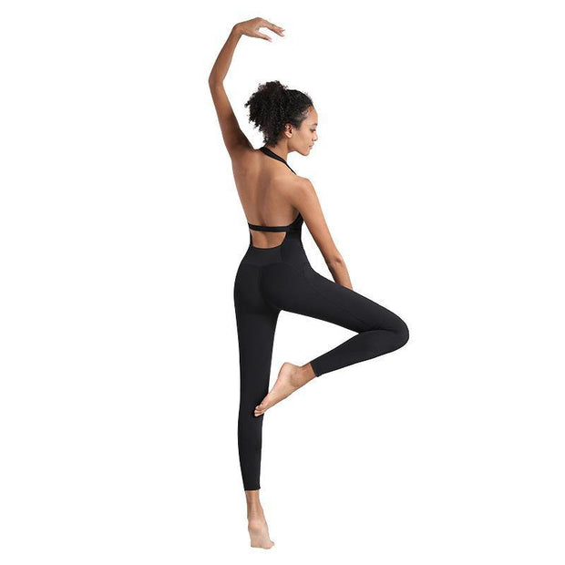 One Piece Back Yoga Suit Hanging Neck Air Fro Exercise Fitness - Ahanova Sports