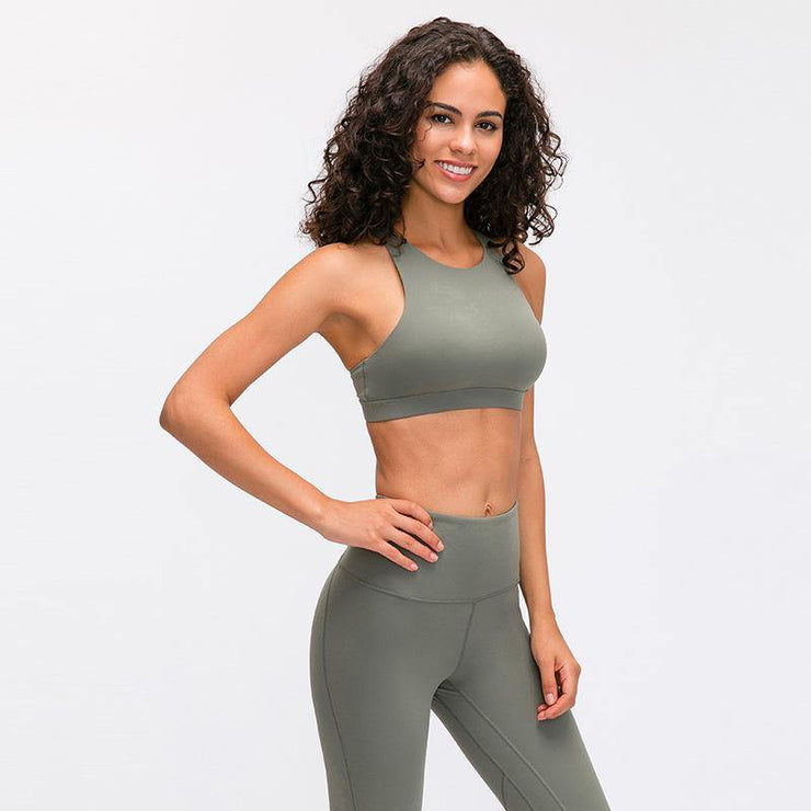 Raise The Crew Neck Cross The Back and Gather The Running Yoga Fitness Bra - Ahanova Sports