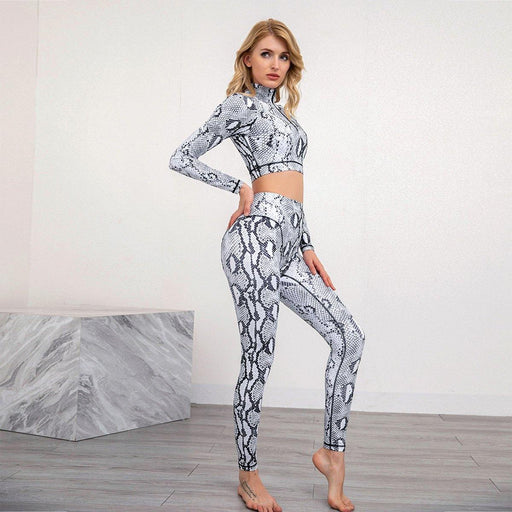 Snake Pattern Long Sleeve Sports Fitness Yoga suit