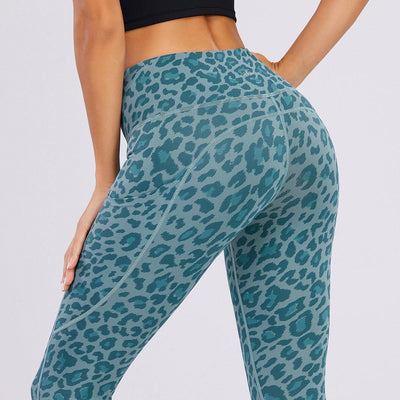 High-Waisted Belly Leopard Print Peach Hips Leggings - Ahanova Sports