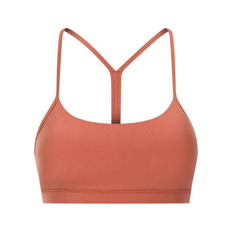Naked Y-word Beauty Back Gathered Shock-proof Fitness Sports Bra - Ahanova Sports