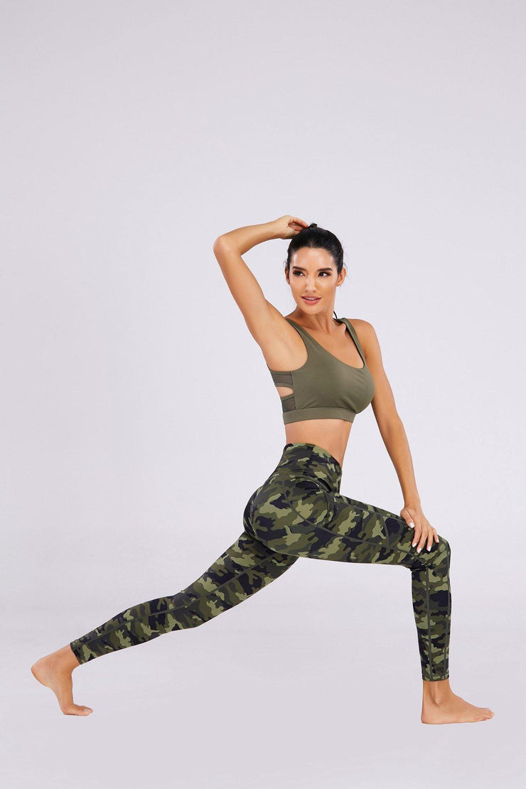 Camouflage Print Tights Peach Workout Leggings - Ahanova Sports