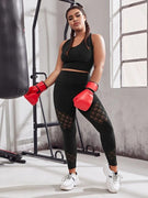 Plus Size Hollow Out Designed Sport Leggings - Ahanova Sports