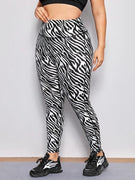 Plus Size Zebra Print High Waist Sport Leggings - Ahanova Sports
