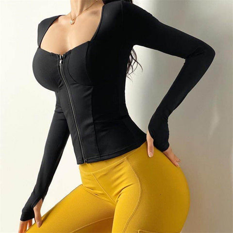 Sexy Tight-fitting Quick-drying Training Yoga Long Sleeve - Ahanova Sports