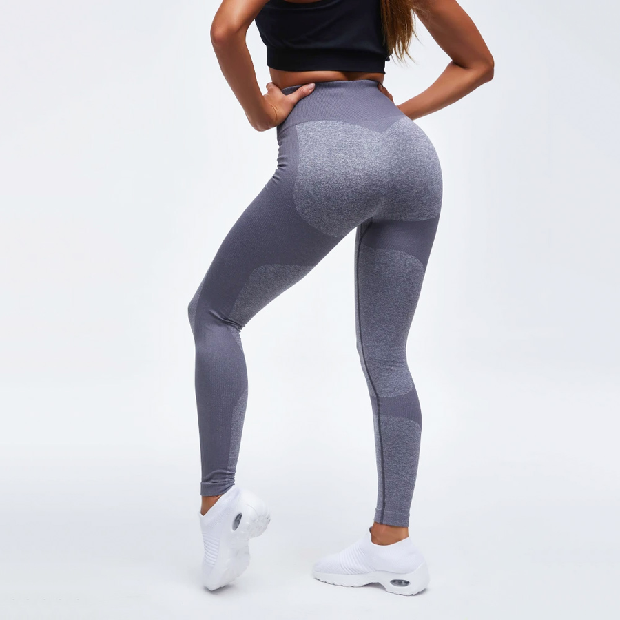 High Waist Compression Ribbed Texture Seamless Leggings - Ahanova Sports