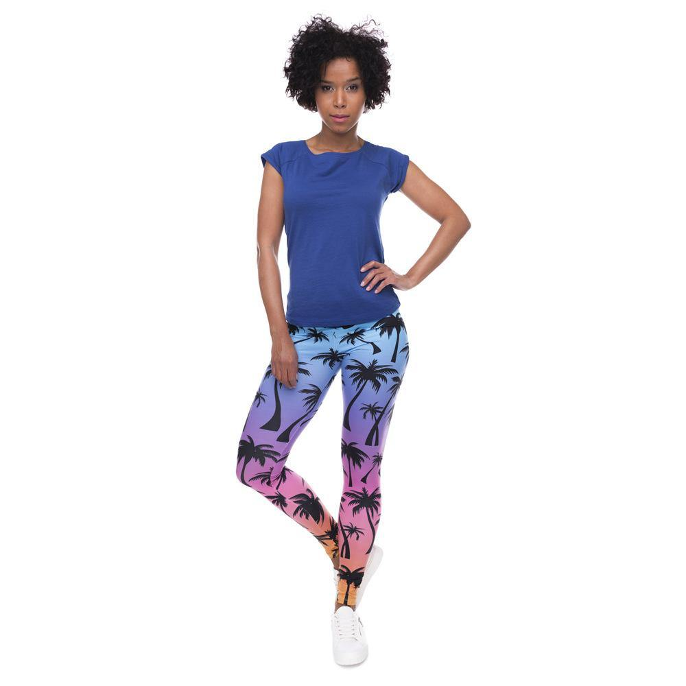 3D Series LA Coconut Palm Print Workout Leggings - Ahanova Sports