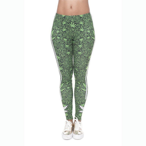 3D Series Green Leaf Print Workout Leggings