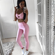 Fairy Pink Hollow Front High Waist Activewear Yoga Suit - Ahanova Sports