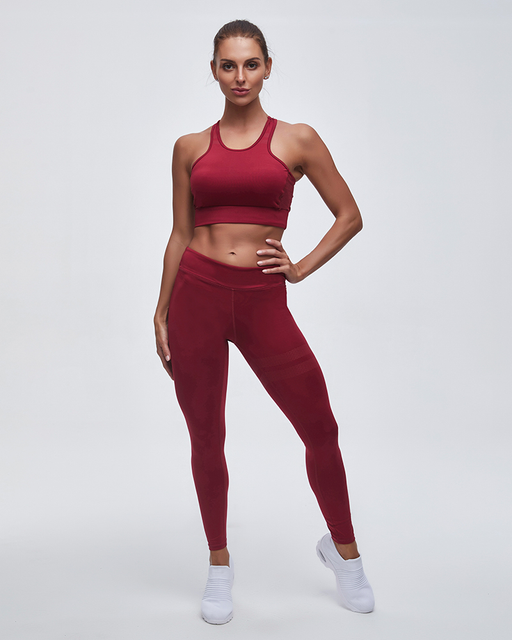 Striped Detail Breathable Sports Bra & High Waist Leggings Yoga Set - Ahanova Sports
