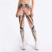 High Waist Designer Printed Workout Leggings - Ahanova Sports