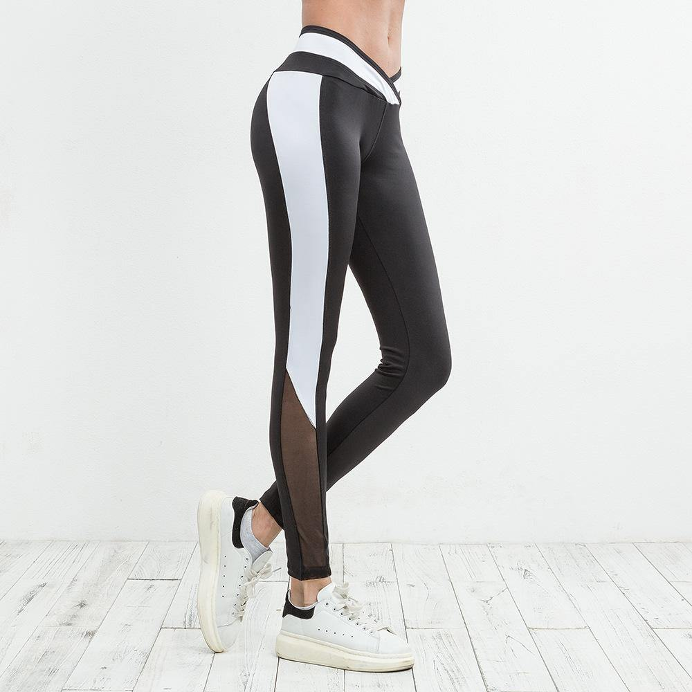Cross-waist Mesh Stitching Slim Leggings - Ahanova Sports