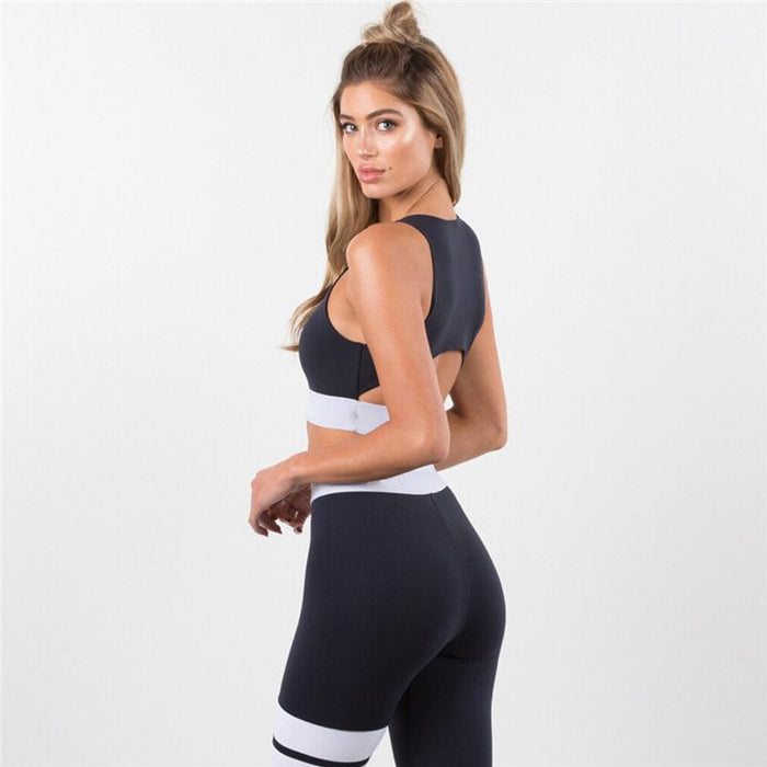 Pure Color With White Side Deco Activewear Yoga Suit - Ahanova Sports