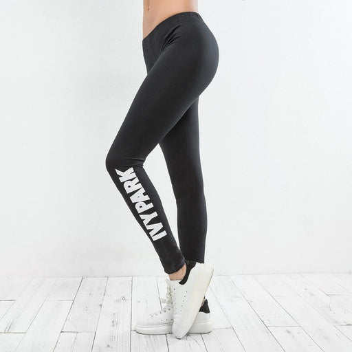 Letter Printing Breathable Stretch Workout Leggings - Ahanova Sports