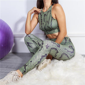 Snakeskin Printed Sexy Girl Halter Top Activewear Yoga Suit - Ahanova Sports