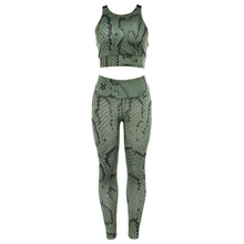 Load image into Gallery viewer, Snakeskin Printed Sexy Girl Halter Top Activewear Yoga Suit - Ahanova Sports