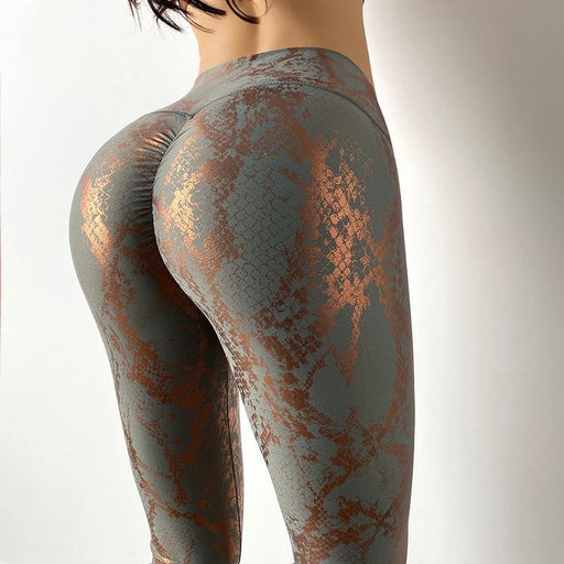 High Waist Snake Print Butt Lift Leggings