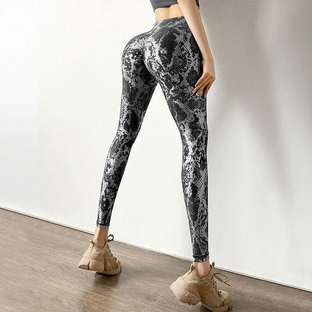 High Waist Snake Print Butt Lift Leggings - Ahanova Sports