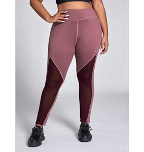 Plus Size Mesh Design Fitness Leggings - Ahanova Sports