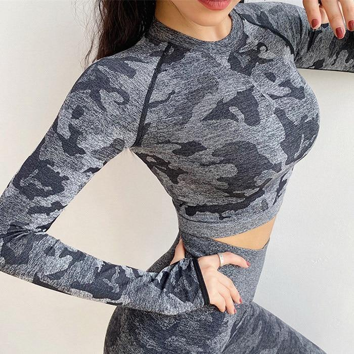 Camo Seamless Crop Shirts - Ahanova Sports