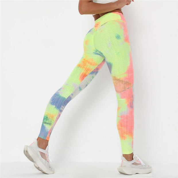 Tie Dyed Anti-Cellulite Peach Lift Leggings - Ahanova Sports