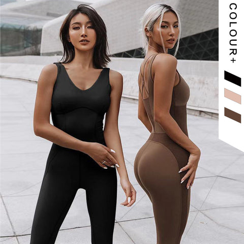 Solid Color fitness BreathablebEastic Jumpsuit - Ahanova Sports
