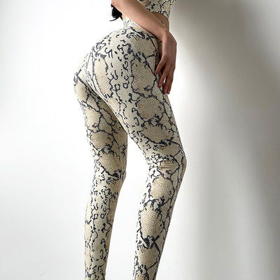 Snake Skin Pattern Hip Lifting Yoga Leggings - Ahanova Sports