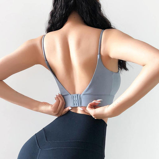 Backless Pure Colour Yoga Vest - Ahanova Sports