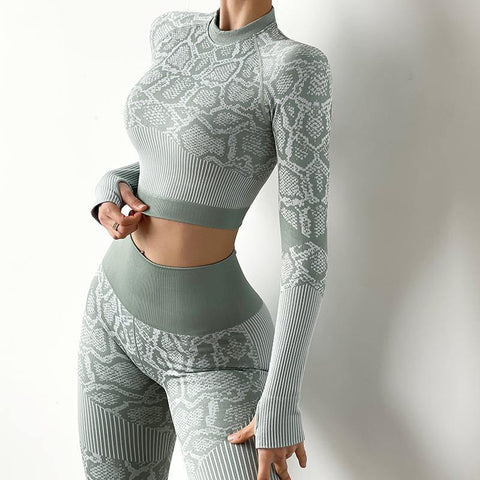 Tight High Collar Printed Yoga Long Sleeve - Ahanova Sports