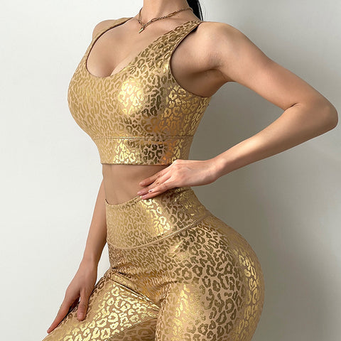 Sexy Golden Leopard Print Sports Bra - Ahanova Sports