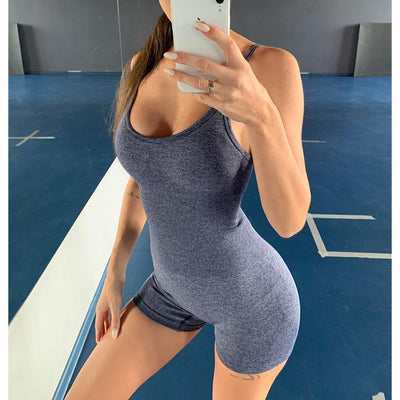 Seamless Sling Sport Jumpsuit One Piece Bodysuit - Ahanova Sports