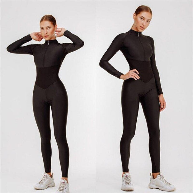 One Piece Siamese Zip Women Sexy Yoga Set 1PCS Gym Workout Clothes - Ahanova Sports