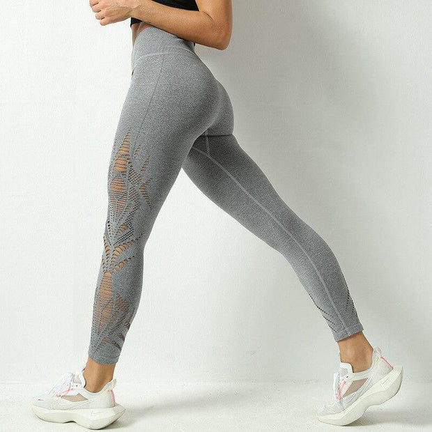 Hollow Out Seamless Tummy Control Yoga Leggings - Ahanova Sports