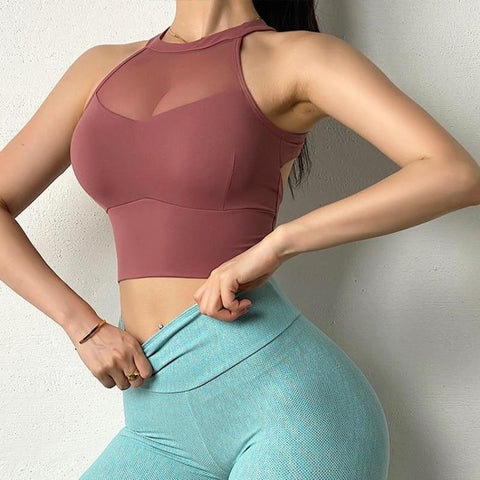 Sexy Mesh Vests Sports Bra - Ahanova Sports
