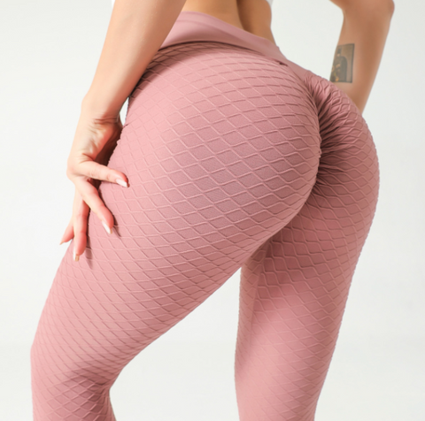 High Waist Butt Lifting Seamless Textured Leggings - Ahanova Sports