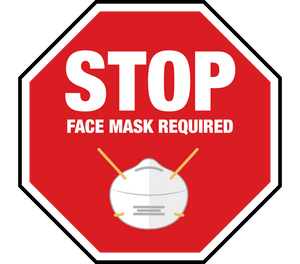 Stop Face Mask Required Floor Graphic 24""