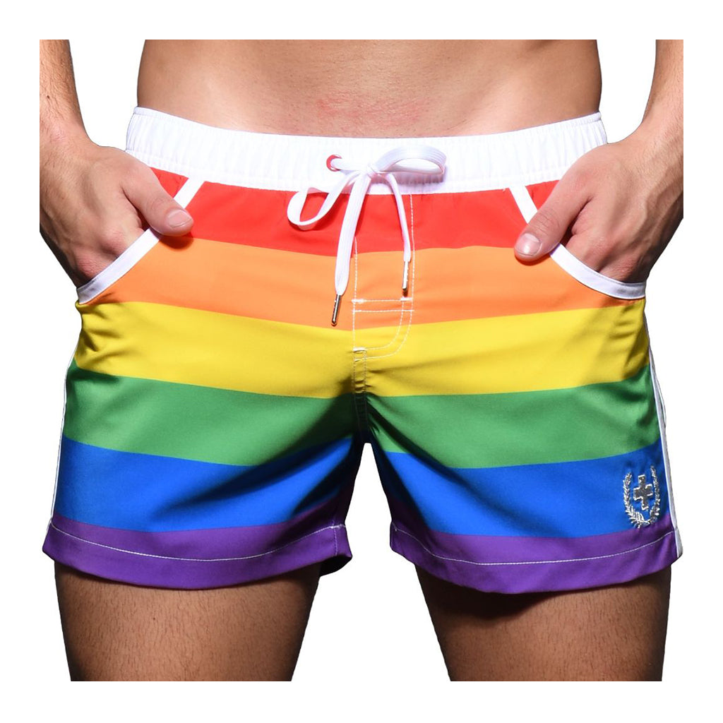 Andrew Christian Pride Stripe Swim Shorts