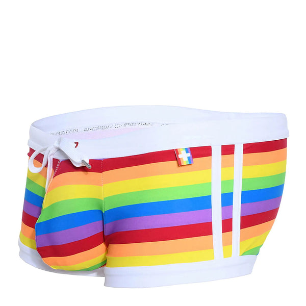 Andrew Christian Pride Stripe Swim Trunks