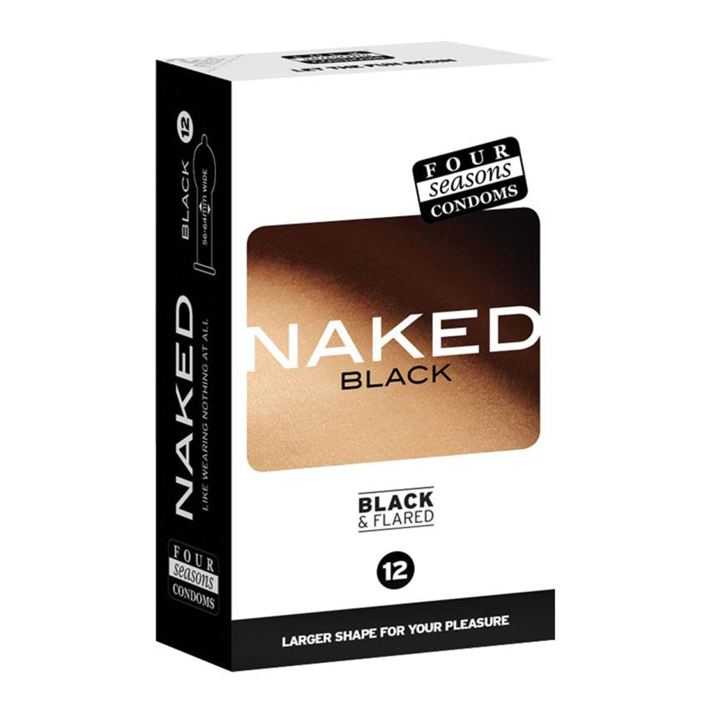 Four Seasons 12s Naked Black and Flared Condoms