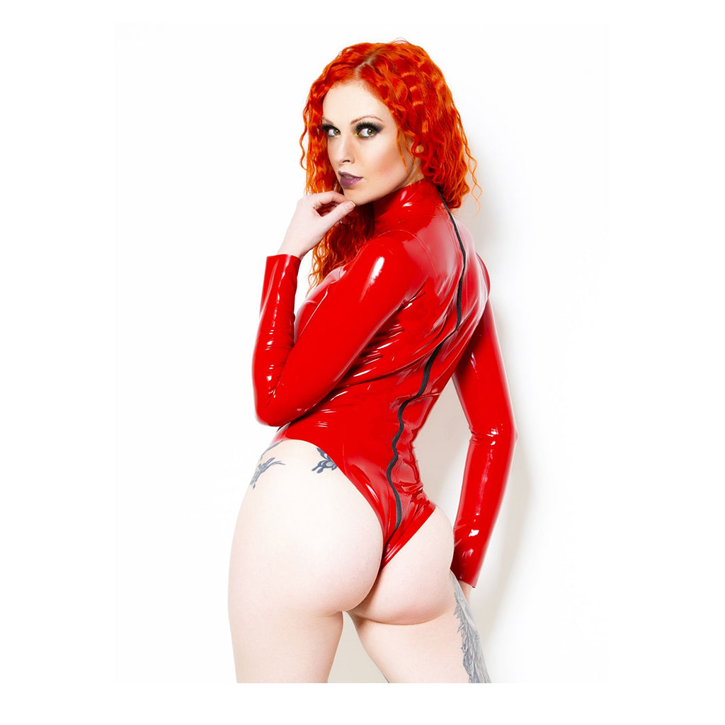 Honour Baroness 2 Way Zip Bodysuit Red