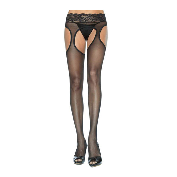 Leg Avenue Sheer Suspender Cut Out Pantyhose