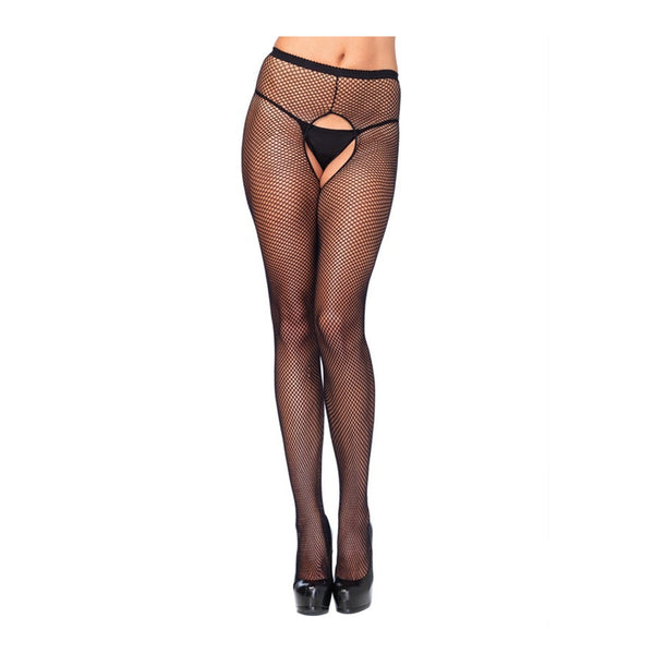 Leg Avenue Crotchless Fishnet Pantyhose Black