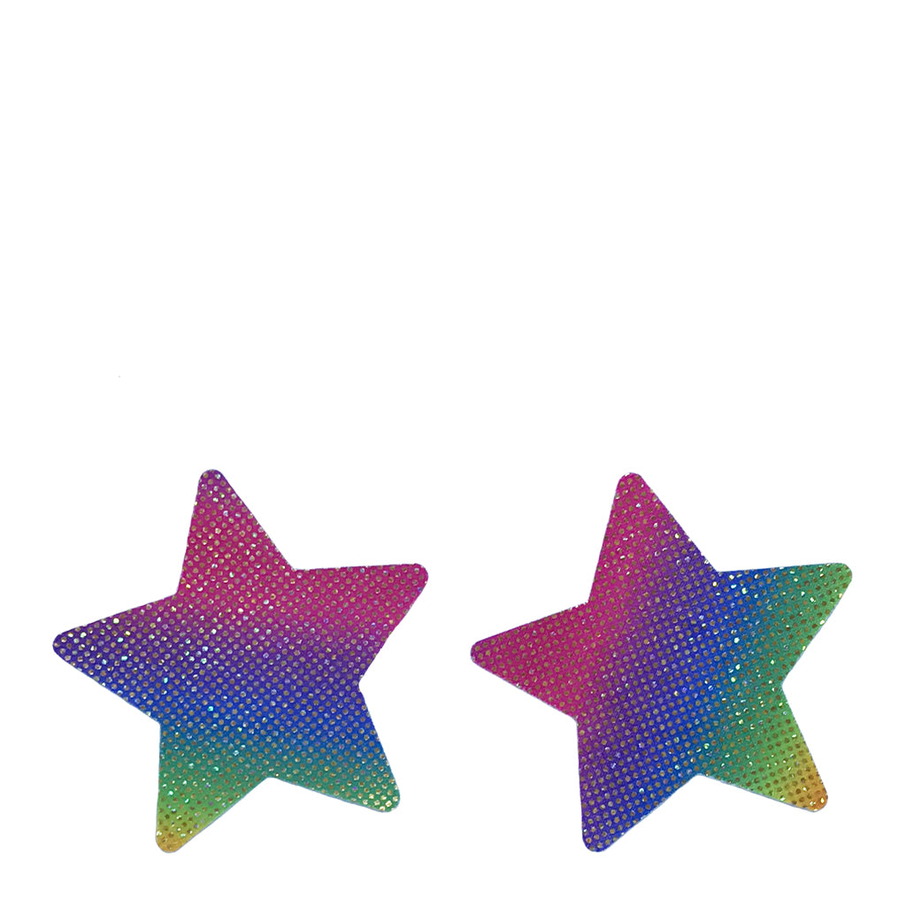 Love in Leather Sparkly Rainbow Star Pasties