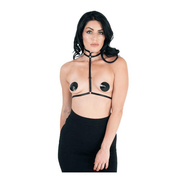 Love in Leather Choker T-Bar Body Harness