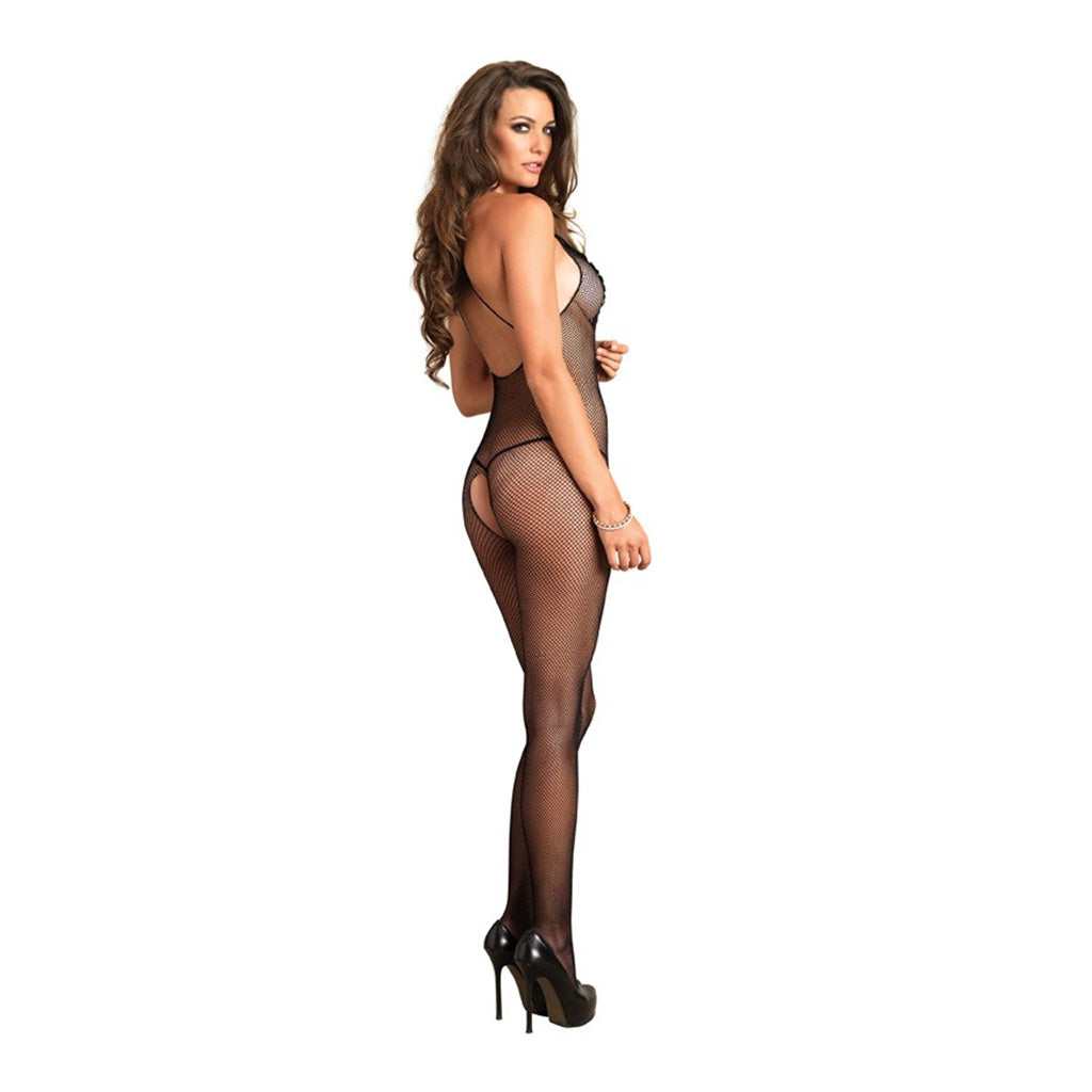 Leg Avenue Crotchless Fishnet Body Stocking with Embroidery